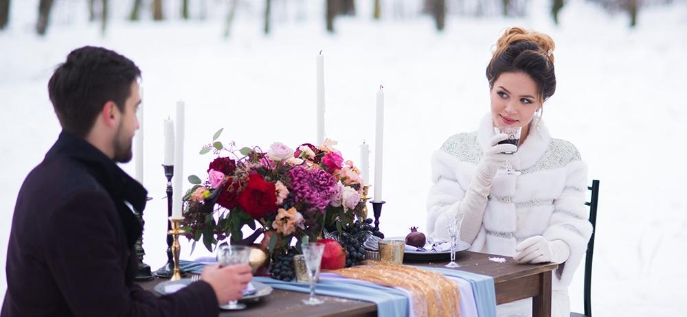 Зимняя свадьба в парке